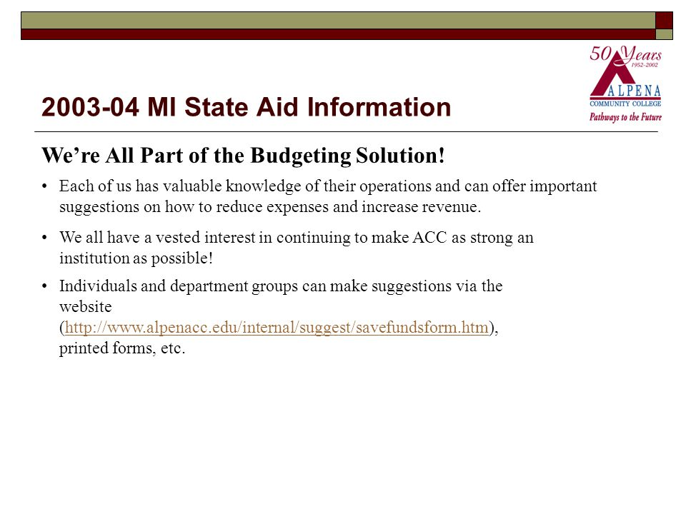 2003-04 MI State Aid Information We're All Part of the Budgeting Solution.