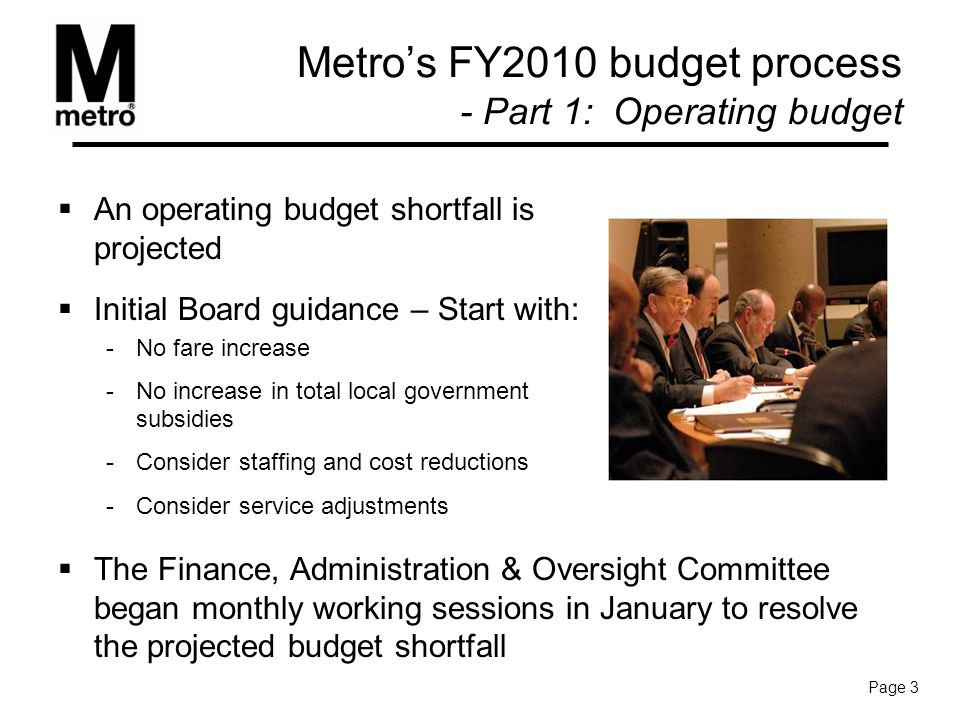 Metro's FY2010 budget process - Part 1: Operating budget  The Finance, Administration & Oversight Committee began monthly working sessions in January to resolve the projected budget shortfall  An operating budget shortfall is projected  Initial Board guidance – Start with: -No fare increase -No increase in total local government subsidies -Consider staffing and cost reductions -Consider service adjustments Page 3