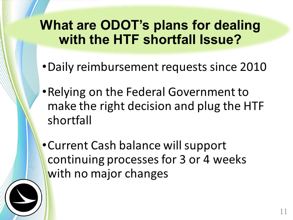 What are ODOT's plans for dealing with the HTF shortfall Issue? Daily reimbursement requests since 2010 Relying on the Federal Government to make the