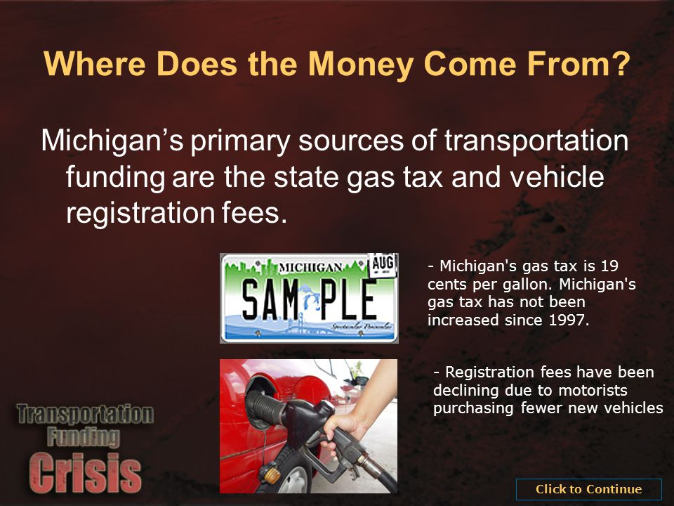 - Michigan s gas tax is 19 cents per gallon. Michigan s gas tax has not been increased since 1997.