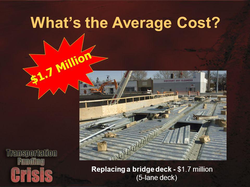 $1.7 Million Replacing a bridge deck - $1.7 million (5-lane deck) What's the Average Cost?
