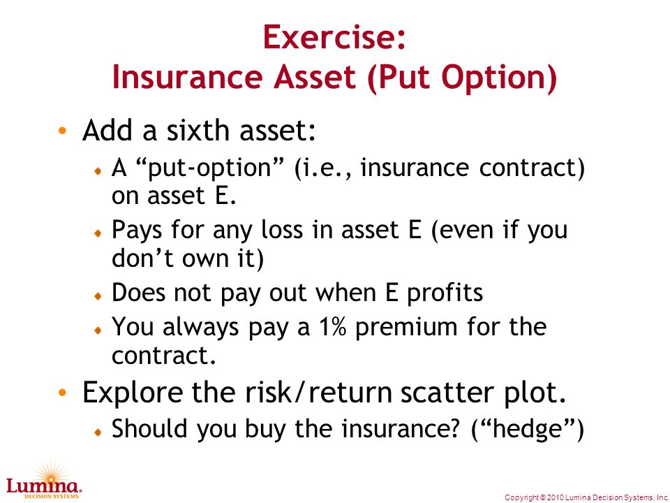 """Copyright © 2010 Lumina Decision Systems, Inc. Exercise: Insurance Asset (Put Option) Add a sixth asset: A """"put-option"""" (i.e., insurance contract) on"""