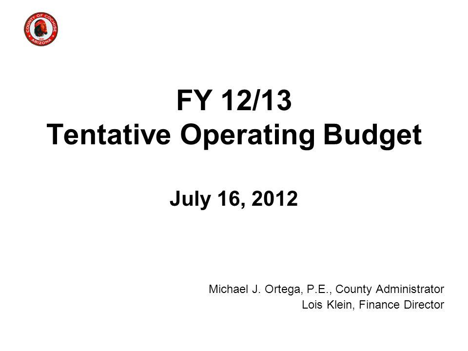 FY 12/13 Tentative Operating Budget July 16, 2012 Michael J. Ortega, P.E., County Administrator Lois Klein, Finance Director