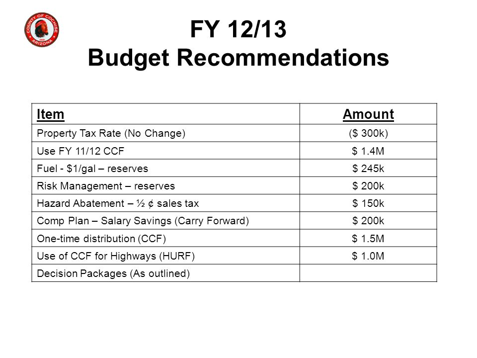 FY 12/13 Budget Recommendations ItemAmount Property Tax Rate (No Change)($ 300k) Use FY 11/12 CCF$ 1.4M Fuel - $1/gal – reserves$ 245k Risk Management