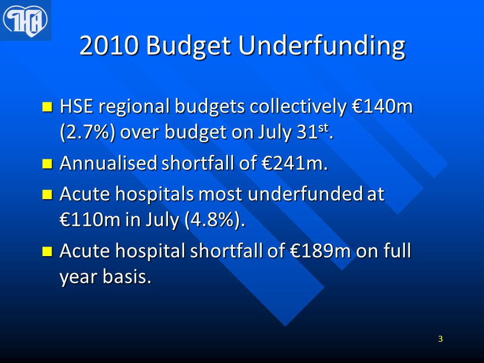 2010 Budget Underfunding Primary and community care shortfall of €30m (July) or €52m in full year (-1.1%) Primary and community care shortfall of €30m (July) or €52m in full year (-1.1%) Mental Health 1.5% underfunded: €10m in full year.