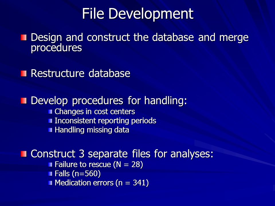 File Development Design and construct the database and merge procedures Restructure database Develop procedures for handling: Changes in cost centers Inconsistent reporting periods Handling missing data Construct 3 separate files for analyses: Failure to rescue (N = 28) Falls (n=560) Medication errors (n = 341)