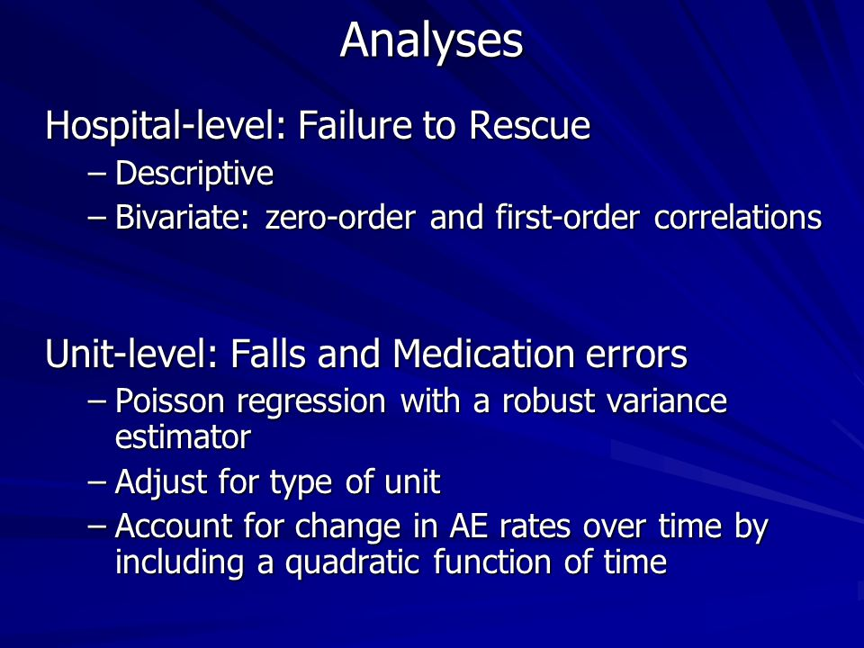 Analyses Hospital-level: Failure to Rescue –Descriptive –Bivariate: zero-order and first-order correlations Unit-level: Falls and Medication errors –Poisson regression with a robust variance estimator –Adjust for type of unit –Account for change in AE rates over time by including a quadratic function of time