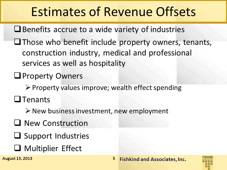 Estimates of Revenue Offsets  Benefits accrue to a wide variety of industries  Those who benefit include property owners, tenants, construction industry, medical and professional services as well as hospitality  Property Owners  Property values improve; wealth effect spending  Tenants  New business investment, new employment  New Construction  Support Industries  Multiplier Effect August 15, 2013 Fishkind and Associates, Inc.