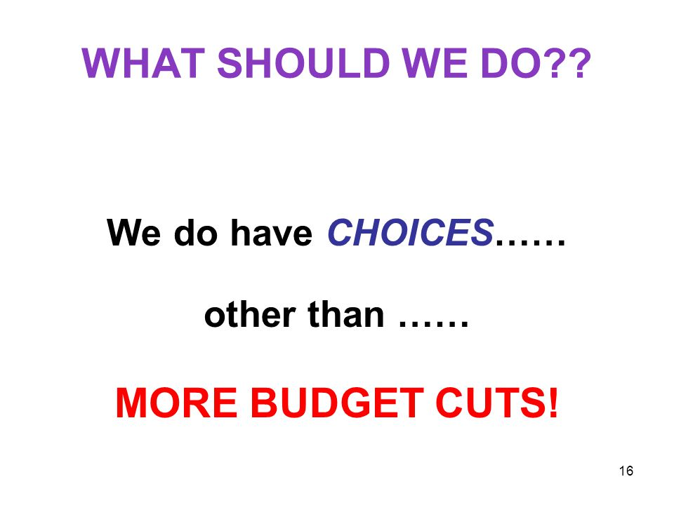 16 WHAT SHOULD WE DO We do have CHOICES…… other than …… MORE BUDGET CUTS!