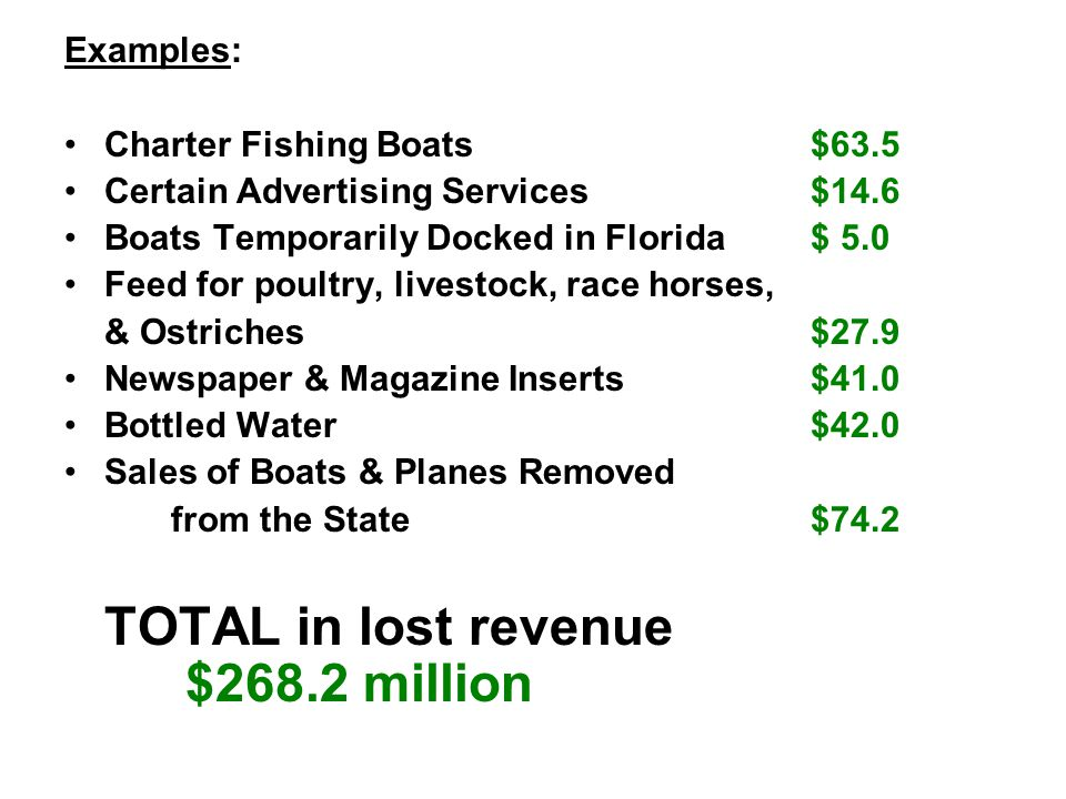 Examples: Charter Fishing Boats $63.5 Certain Advertising Services $14.6 Boats Temporarily Docked in Florida $ 5.0 Feed for poultry, livestock, race horses, & Ostriches $27.9 Newspaper & Magazine Inserts $41.0 Bottled Water $42.0 Sales of Boats & Planes Removed from the State $74.2 TOTAL in lost revenue $268.2 million