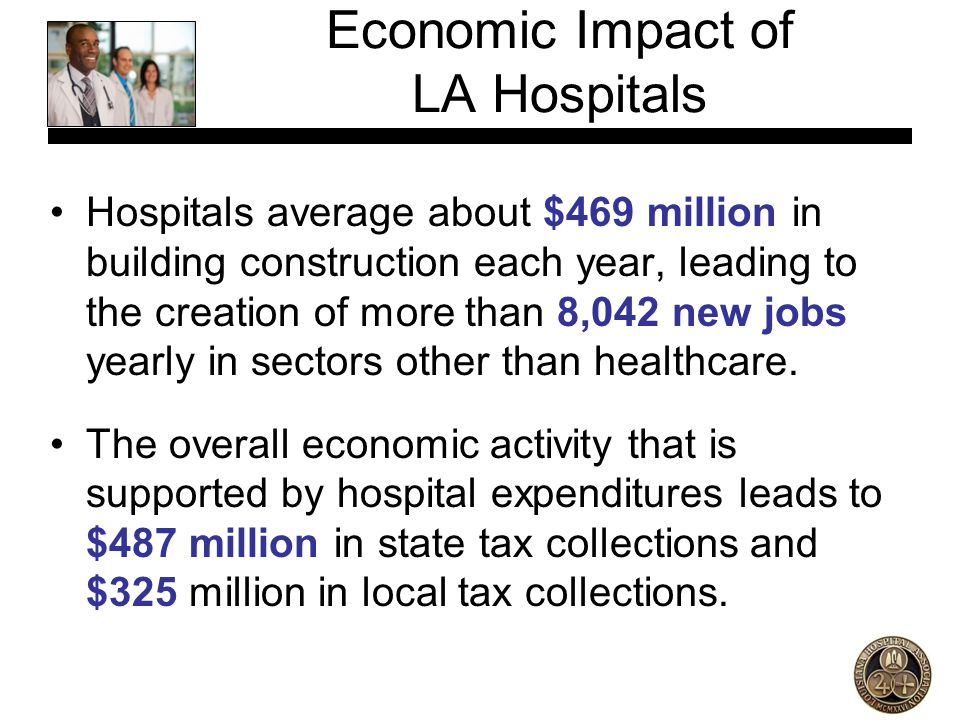 Hospitals average about $469 million in building construction each year, leading to the creation of more than 8,042 new jobs yearly in sectors other t