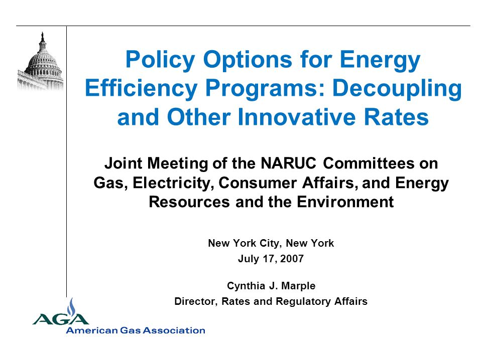 Policy Options for Energy Efficiency Programs: Decoupling and Other Innovative Rates Joint Meeting of the NARUC Committees on Gas, Electricity, Consum