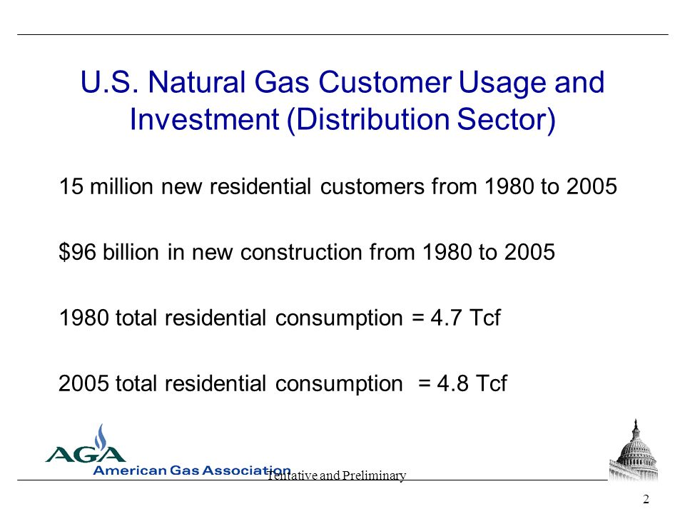 Tentative and Preliminary U.S. Natural Gas Customer Usage and Investment (Distribution Sector) 15 million new residential customers from 1980 to 2005