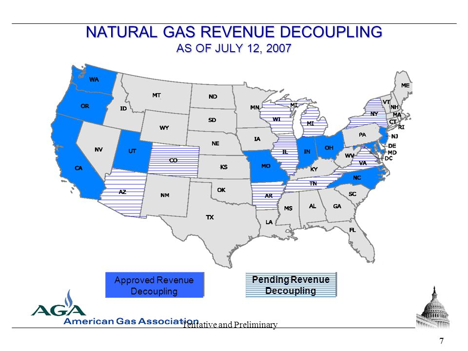Tentative and Preliminary 77 NATURAL GAS REVENUE DECOUPLING AS OF JULY 12, 2007 Approved Revenue Decoupling Pending Revenue Decoupling