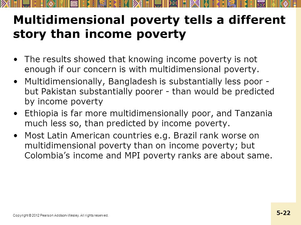 Copyright © 2012 Pearson Addison-Wesley. All rights reserved. 5-22 Multidimensional poverty tells a different story than income poverty The results sh