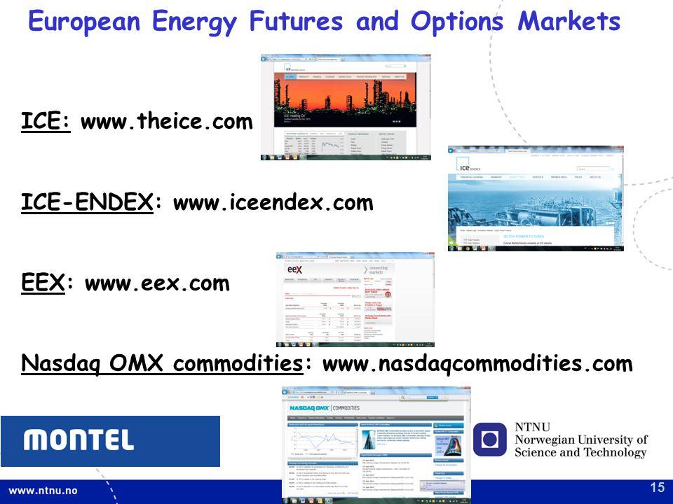 15 European Energy Futures and Options Markets ICE: www.theice.com ICE-ENDEX: www.iceendex.com EEX: www.eex.com Nasdaq OMX commodities: www.nasdaqcommodities.com