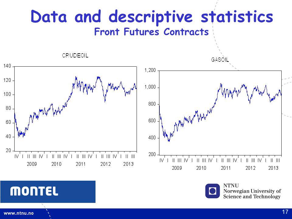 17 Data and descriptive statistics Front Futures Contracts