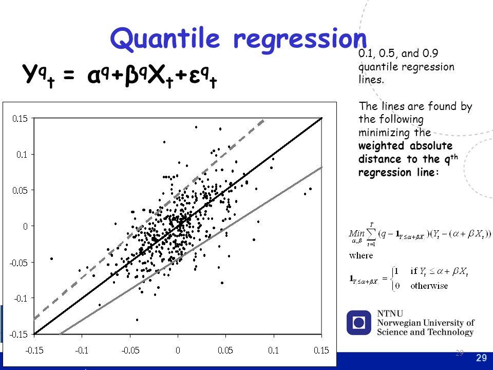 29 Quantile regression 0.1, 0.5, and 0.9 quantile regression lines.