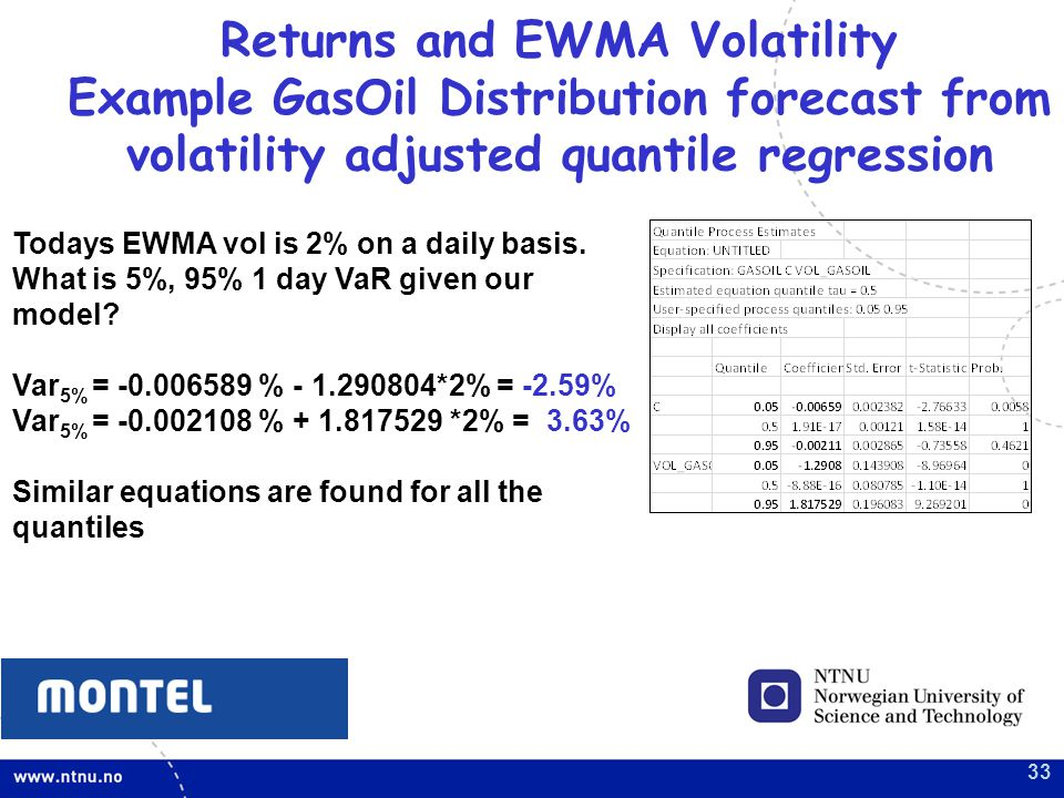 33 Returns and EWMA Volatility Example GasOil Distribution forecast from volatility adjusted quantile regression Todays EWMA vol is 2% on a daily basis.