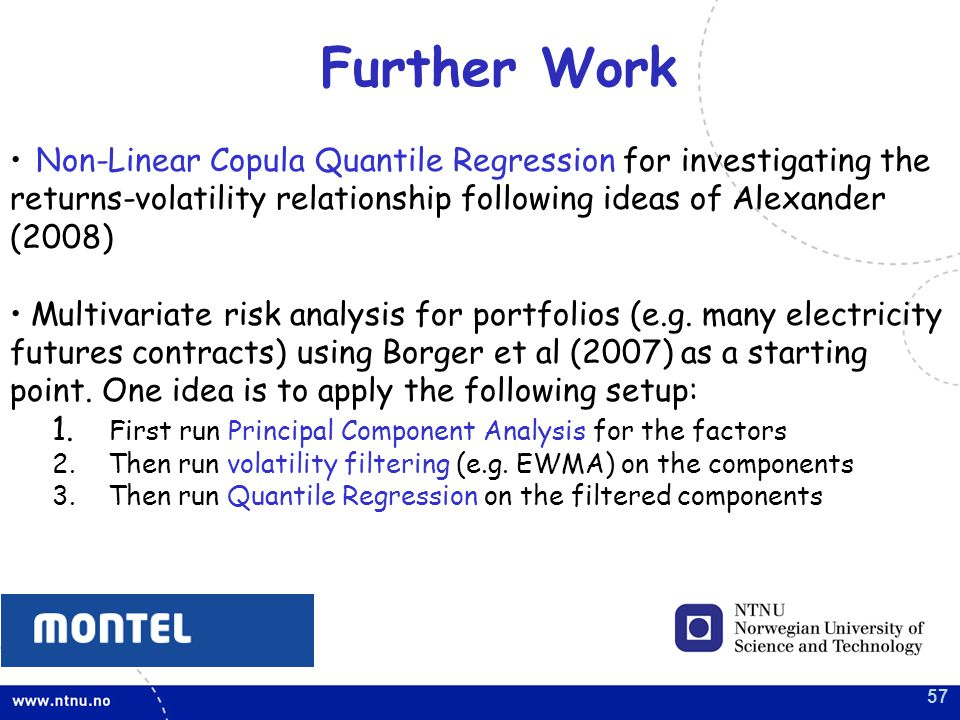 57 Further Work Non-Linear Copula Quantile Regression for investigating the returns-volatility relationship following ideas of Alexander (2008) Multivariate risk analysis for portfolios (e.g.