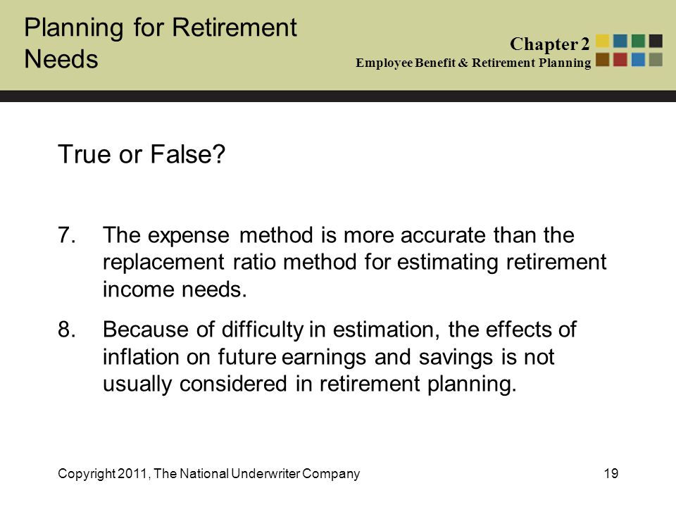 Planning for Retirement Needs Chapter 2 Employee Benefit & Retirement Planning Copyright 2011, The National Underwriter Company19 True or False.