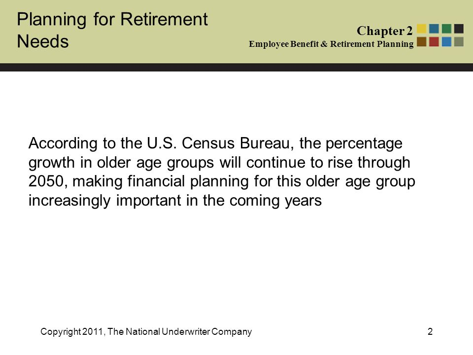 Planning for Retirement Needs Chapter 2 Employee Benefit & Retirement Planning Copyright 2011, The National Underwriter Company2 According to the U.S.