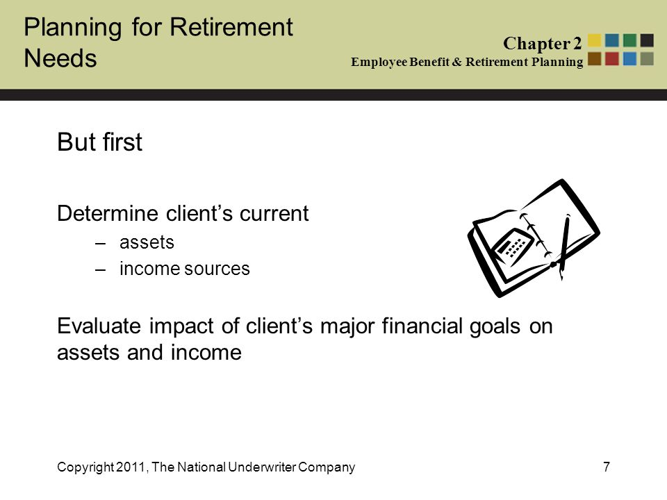 Planning for Retirement Needs Chapter 2 Employee Benefit & Retirement Planning Copyright 2011, The National Underwriter Company7 But first Determine client's current –assets –income sources Evaluate impact of client's major financial goals on assets and income