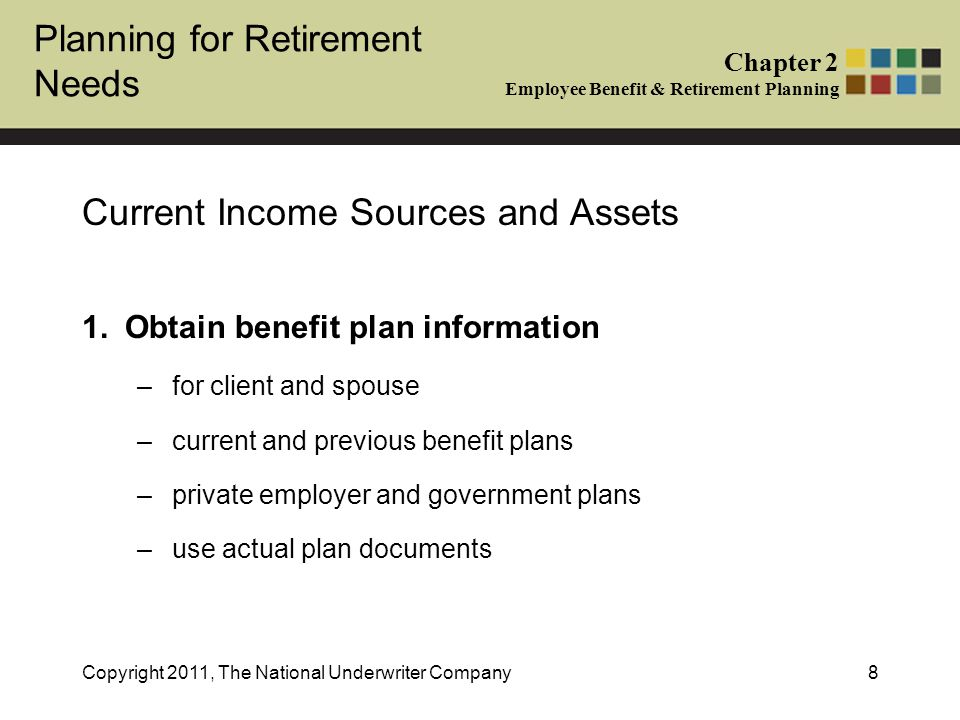 Planning for Retirement Needs Chapter 2 Employee Benefit & Retirement Planning Copyright 2011, The National Underwriter Company8 Current Income Sources and Assets 1.Obtain benefit plan information –for client and spouse –current and previous benefit plans –private employer and government plans –use actual plan documents