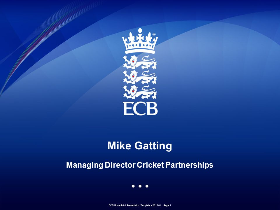 ECB PowerPoint Presentation Template - 20.12.04 Page 2 Paul Bedford Head of Operations Non First Class Cricket