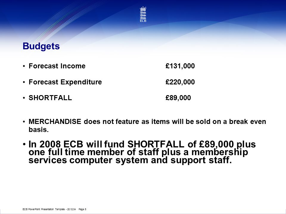 ECB PowerPoint Presentation Template - 20.12.04 Page 5 Budgets Forecast Income£131,000 Forecast Expenditure £220,000 SHORTFALL£89,000 MERCHANDISE does not feature as items will be sold on a break even basis.