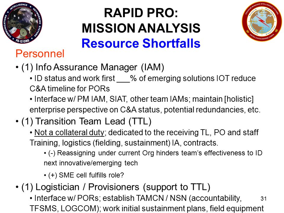 31 RAPID PRO: MISSION ANALYSIS Resource Shortfalls Personnel (1) Info Assurance Manager (IAM) ID status and work first ___% of emerging solutions IOT reduce C&A timeline for PORs Interface w/ PM IAM, SIAT, other team IAMs; maintain [holistic] enterprise perspective on C&A status, potential redundancies, etc.