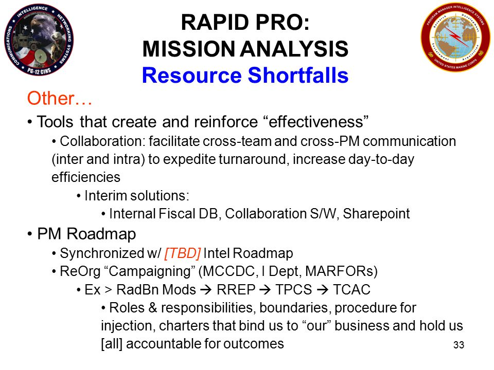 33 RAPID PRO: MISSION ANALYSIS Resource Shortfalls Other… Tools that create and reinforce effectiveness Collaboration: facilitate cross-team and cross-PM communication (inter and intra) to expedite turnaround, increase day-to-day efficiencies Interim solutions: Internal Fiscal DB, Collaboration S/W, Sharepoint PM Roadmap Synchronized w/ [TBD] Intel Roadmap ReOrg Campaigning (MCCDC, I Dept, MARFORs) Ex > RadBn Mods  RREP  TPCS  TCAC Roles & responsibilities, boundaries, procedure for injection, charters that bind us to our business and hold us [all] accountable for outcomes