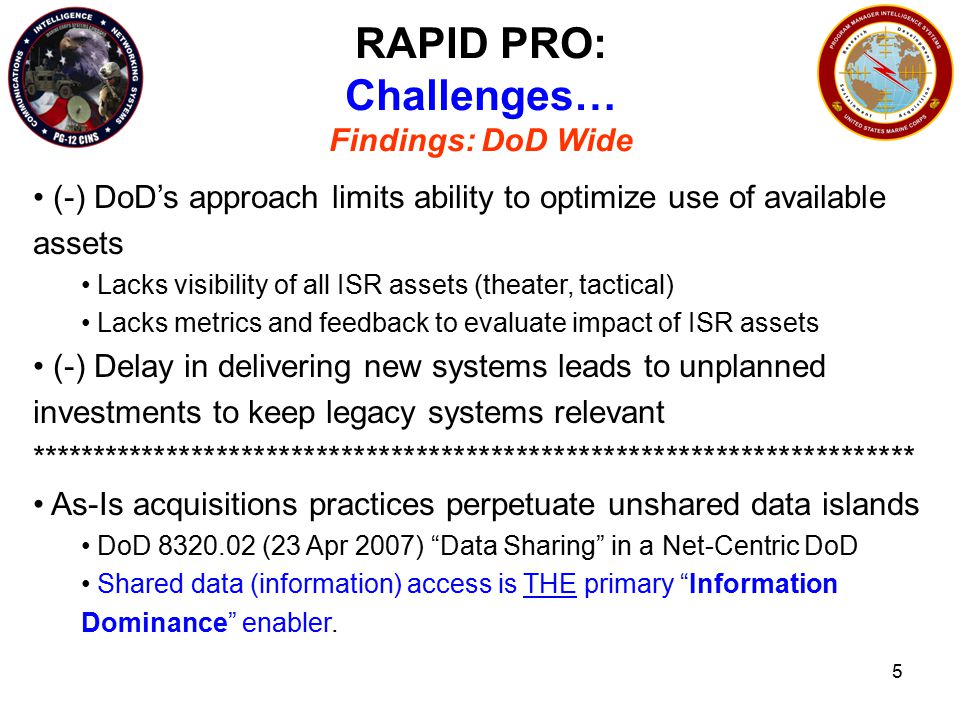 5 RAPID PRO: Challenges… Findings: DoD Wide (-) DoD's approach limits ability to optimize use of available assets Lacks visibility of all ISR assets (theater, tactical) Lacks metrics and feedback to evaluate impact of ISR assets (-) Delay in delivering new systems leads to unplanned investments to keep legacy systems relevant *********************************************************************** As-Is acquisitions practices perpetuate unshared data islands DoD 8320.02 (23 Apr 2007) Data Sharing in a Net-Centric DoD Shared data (information) access is THE primary Information Dominance enabler.