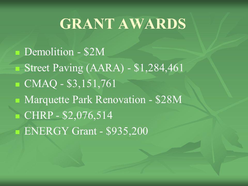 GRANT AWARDS Demolition - $2M Street Paving (AARA) - $1,284,461 CMAQ - $3,151,761 Marquette Park Renovation - $28M CHRP - $2,076,514 ENERGY Grant - $9