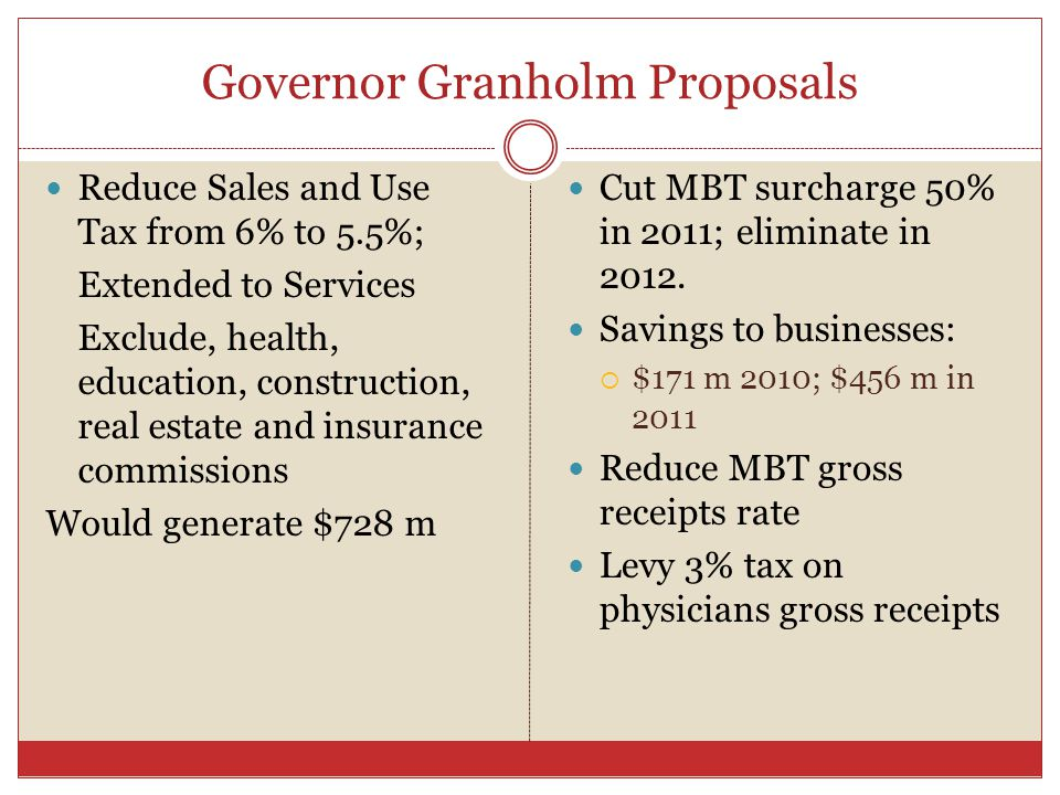 Governor Granholm Proposals Reduce Sales and Use Tax from 6% to 5.5%; Extended to Services Exclude, health, education, construction, real estate and insurance commissions Would generate $728 m Cut MBT surcharge 50% in 2011; eliminate in 2012.