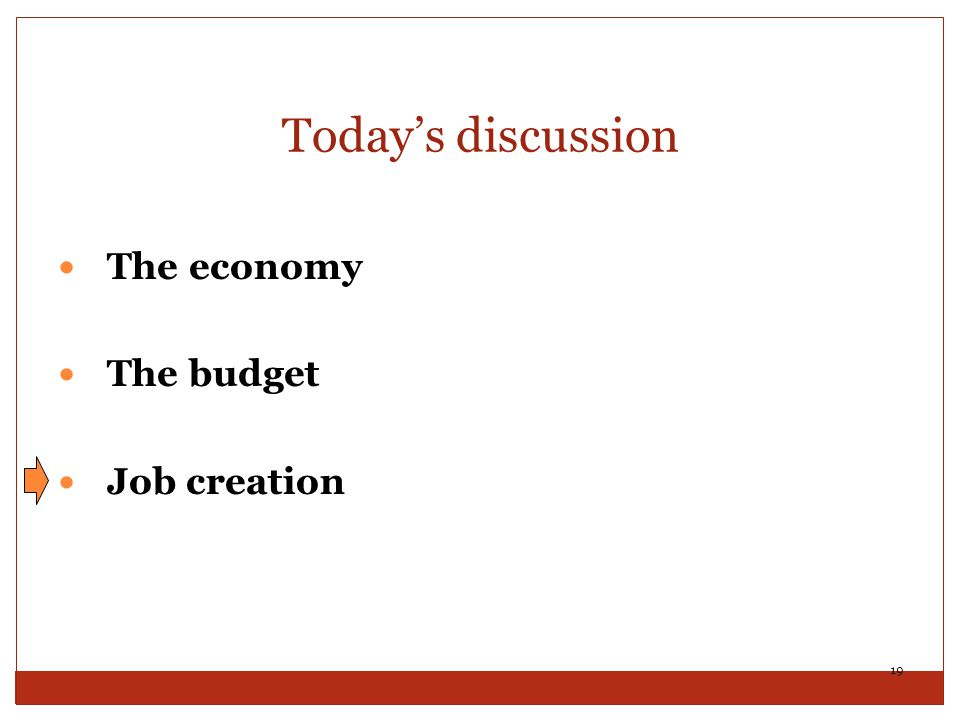 Today's discussion The economy The budget Job creation 19