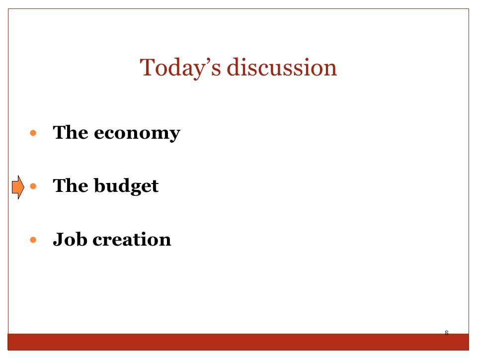 Today's discussion The economy The budget Job creation 8