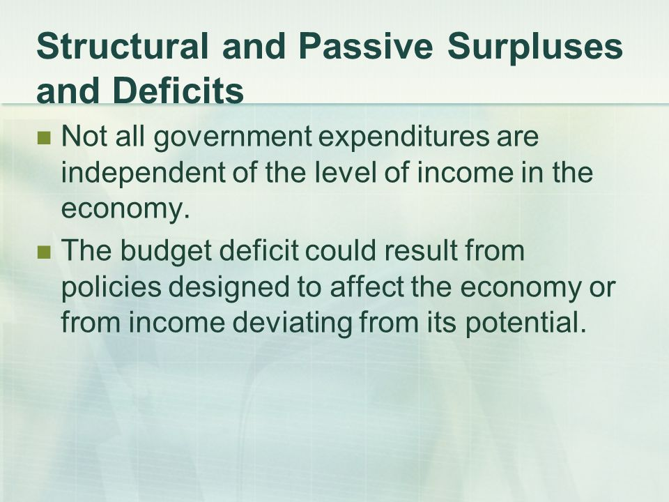 Structural and Passive Surpluses and Deficits Not all government expenditures are independent of the level of income in the economy.