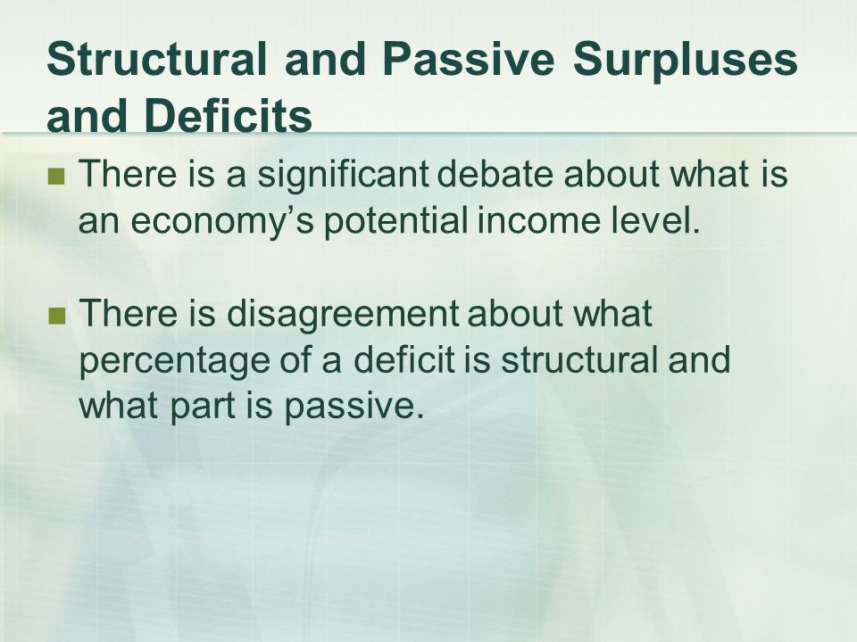 Structural and Passive Surpluses and Deficits There is a significant debate about what is an economy's potential income level.