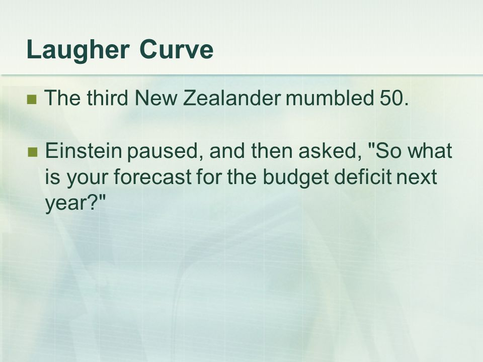 Laugher Curve The third New Zealander mumbled 50.