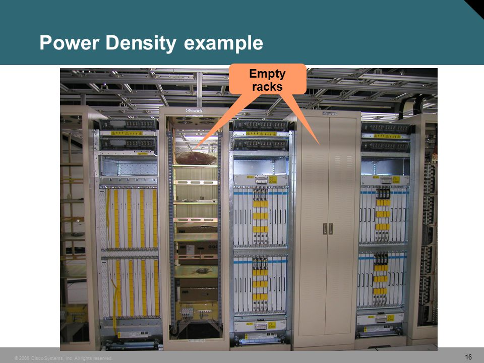 16 © 2006 Cisco Systems, Inc. All rights reserved. Power Density example Empty racks