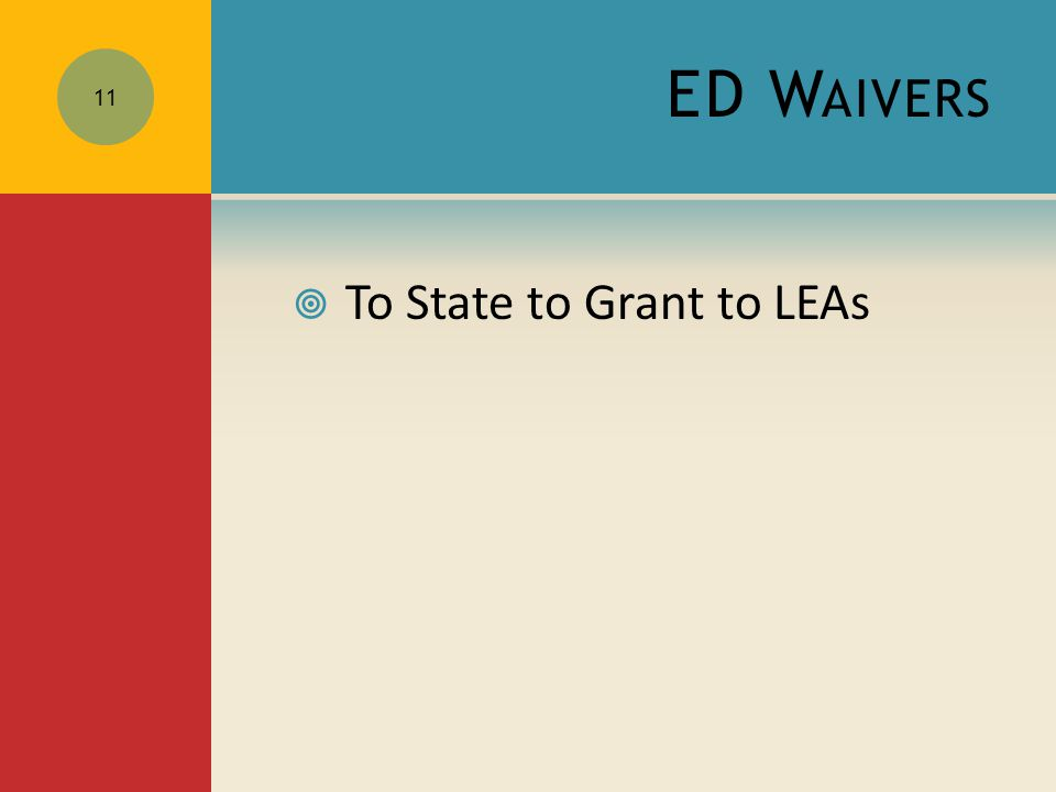 ED W AIVERS  To State to Grant to LEAs 11