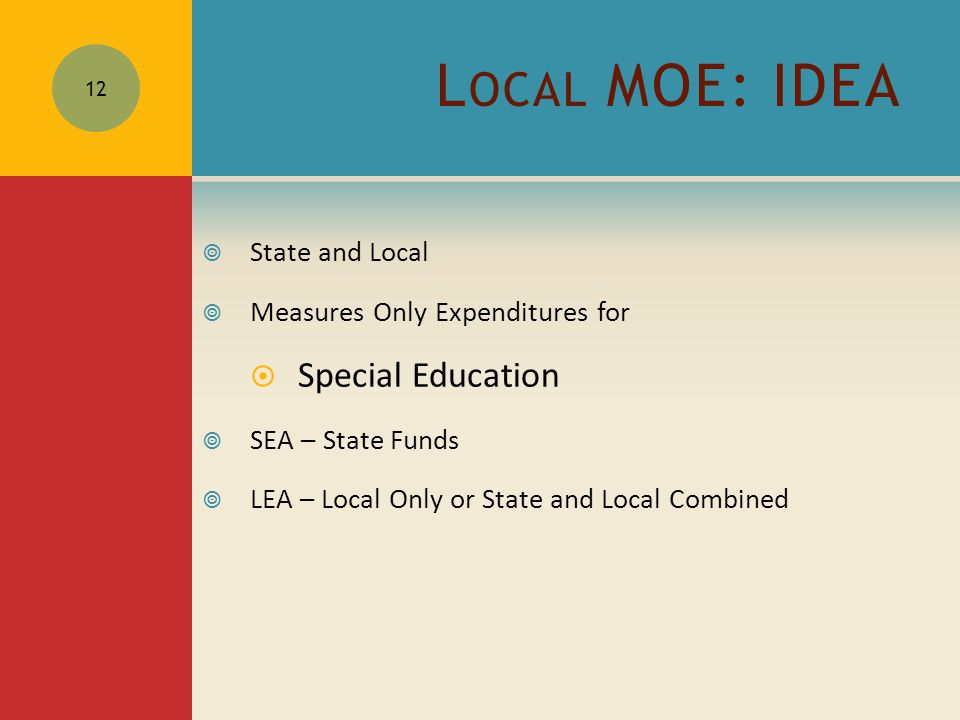 L OCAL MOE: IDEA  State and Local  Measures Only Expenditures for  Special Education  SEA – State Funds  LEA – Local Only or State and Local Combined 12