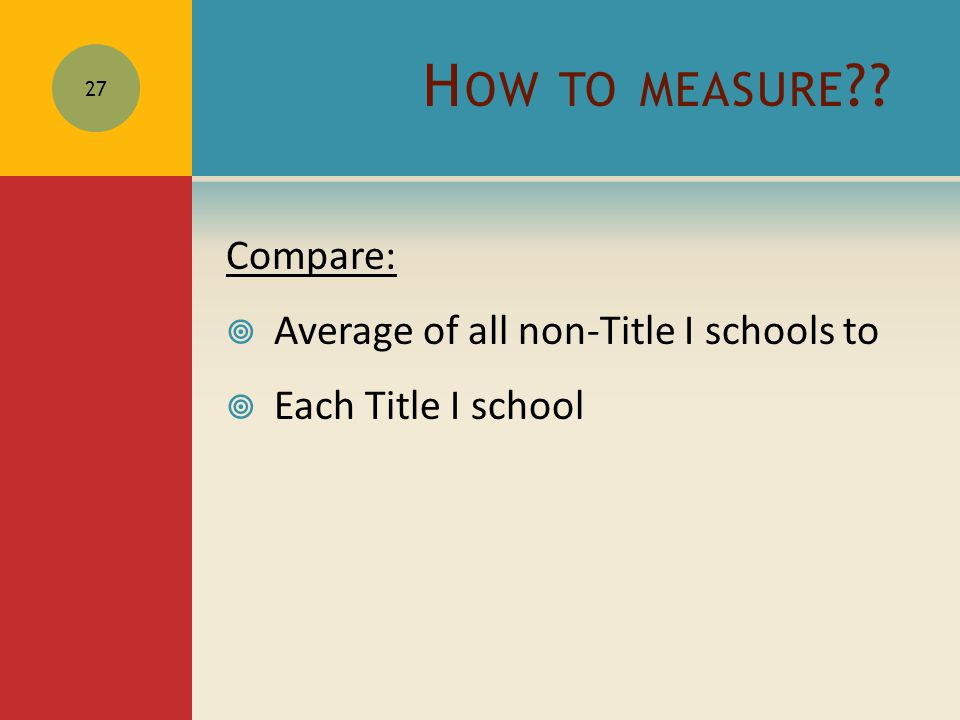 H OW TO MEASURE ?? Compare:  Average of all non-Title I schools to  Each Title I school 27