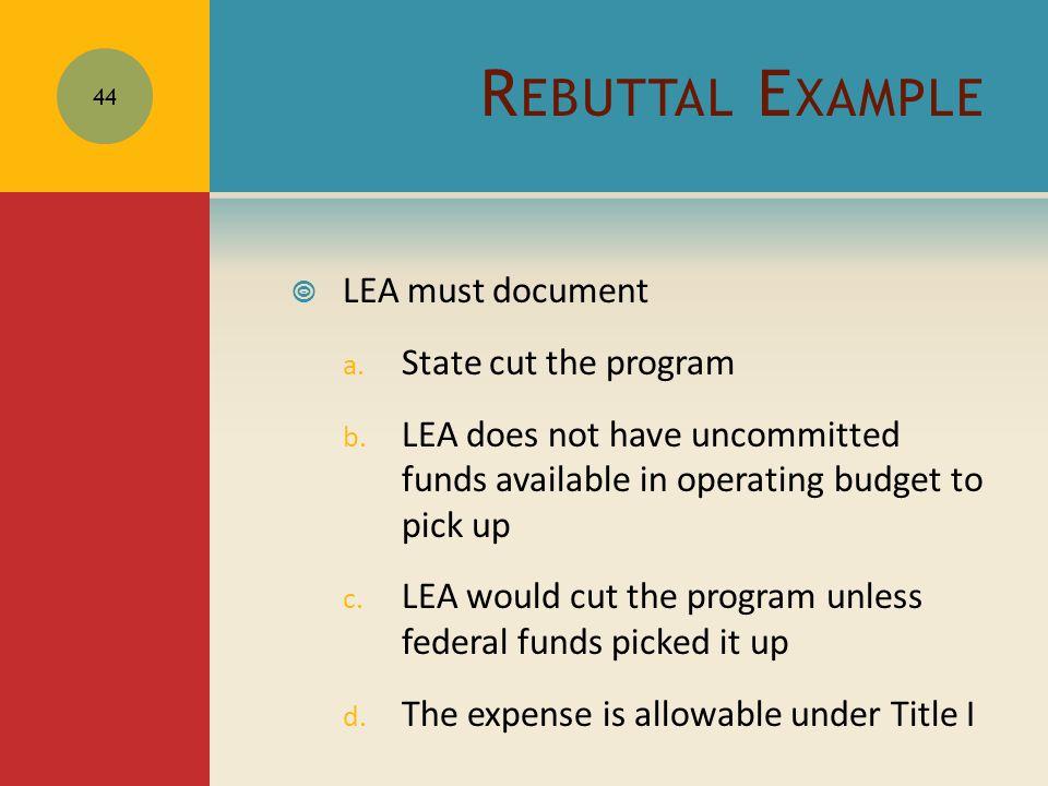 R EBUTTAL E XAMPLE  LEA must document a. State cut the program b.