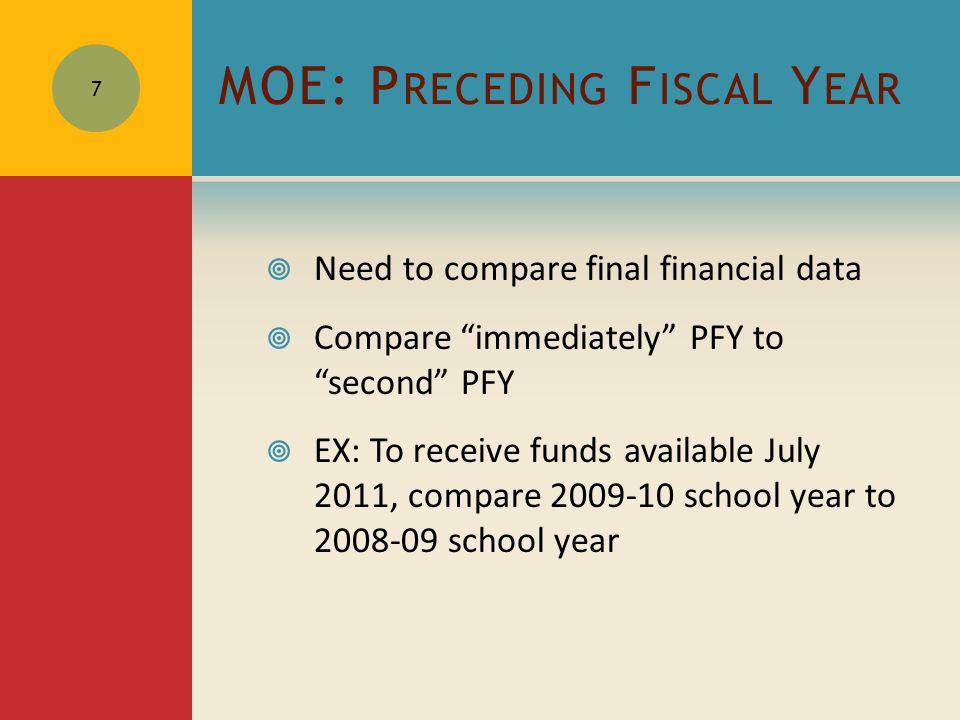 MOE: P RECEDING F ISCAL Y EAR  Need to compare final financial data  Compare immediately PFY to second PFY  EX: To receive funds available July 2011, compare 2009-10 school year to 2008-09 school year 7
