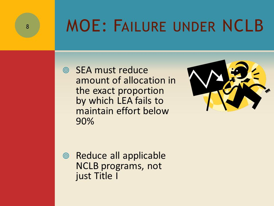 MOE: F AILURE UNDER NCLB  SEA must reduce amount of allocation in the exact proportion by which LEA fails to maintain effort below 90%  Reduce all applicable NCLB programs, not just Title I 8