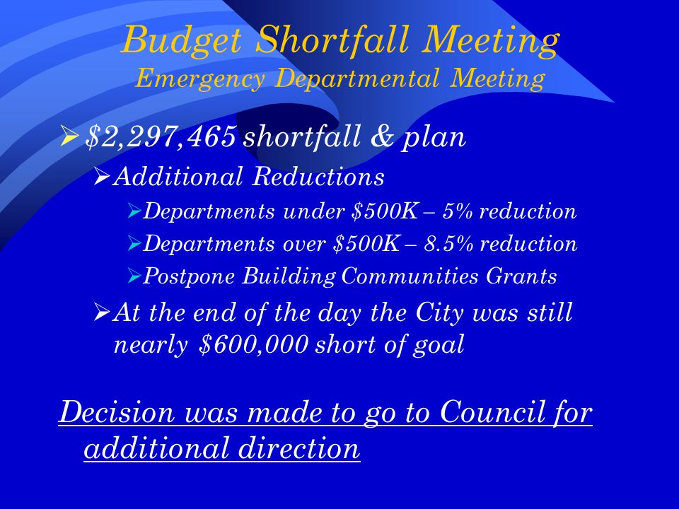  $2,297,465 shortfall & plan  Additional Reductions  Departments under $500K – 5% reduction  Departments over $500K – 8.5% reduction  Postpone Building Communities Grants  At the end of the day the City was still nearly $600,000 short of goal Decision was made to go to Council for additional direction
