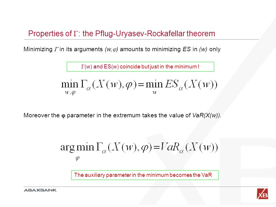 Properties of  : the Pflug-Uryasev-Rockafellar theorem Minimizing  in its arguments (w,  ) amounts to minimizing ES in (w) only Moreover the  para
