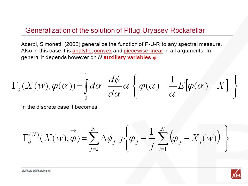 Generalization of the solution of Pflug-Uryasev-Rockafellar Acerbi, Simonetti (2002) generalize the function of P-U-R to any spectral measure. Also in